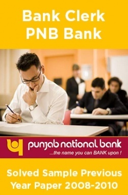 Bank Clerk PNB Bank Solved Sample Previous Year Paper 2008-2010
