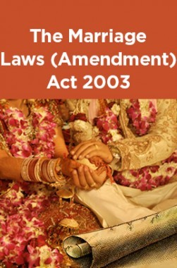 The Marriage Laws (Amendment) Act 2003