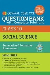 Oswaal CBSE CCE Question Bank With Complete Solutions For Class 10 Term I (April to Sep 2016) Social Science