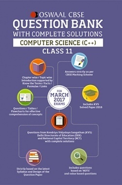 Oswaal CBSE Question Bank With Complete Solutions for Class 11 Computer Science C++ ( For 2017 Exams)