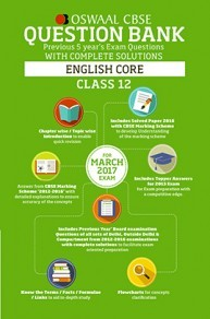 Oswaal CBSE Question Bank With Complete Solutions for Class 12 English Core (For 2017 Exams)