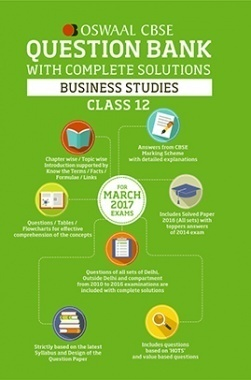 Oswaal CBSE Question Bank With Complete Solutions for Class 12 Business Studies (For 2017 Exams)