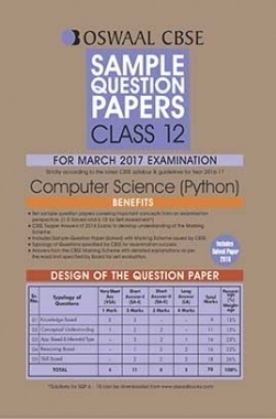 Oswaal CBSE Sample Question Papers For Class 12 Computer Science Python (For March 2017 Examination)