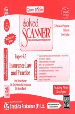Solved Scanner CS Professional Programme Gr. III Paper-9.3 Insurance Law and Practice (New Syllabus) Green Edition (Jul-2015)