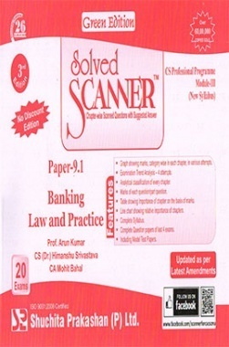 Solved Scanner CS Professional Programme Module-III Paper-9.1 Banking Law and Practice (New Syllabus) Green Edition (Dec-2015)