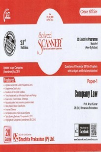 Solved Scanner CS Executive Progamme Module-I New Syllabus Paper-1 Company Law Green Edition (Dec-2016)