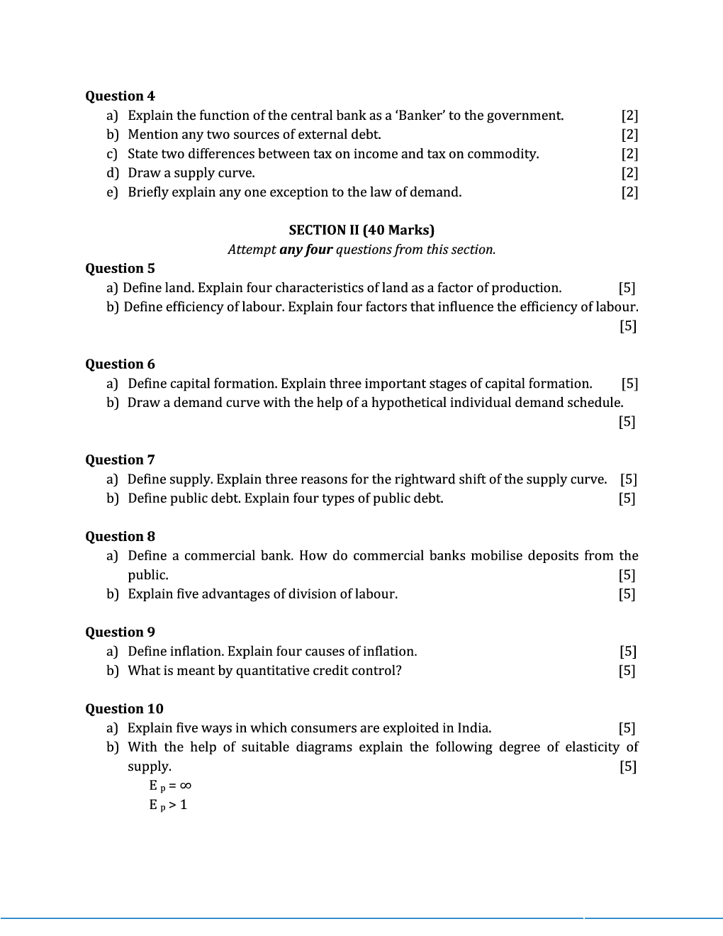 ICSE Sample Question Papers For Class 10 Economics - Page 3