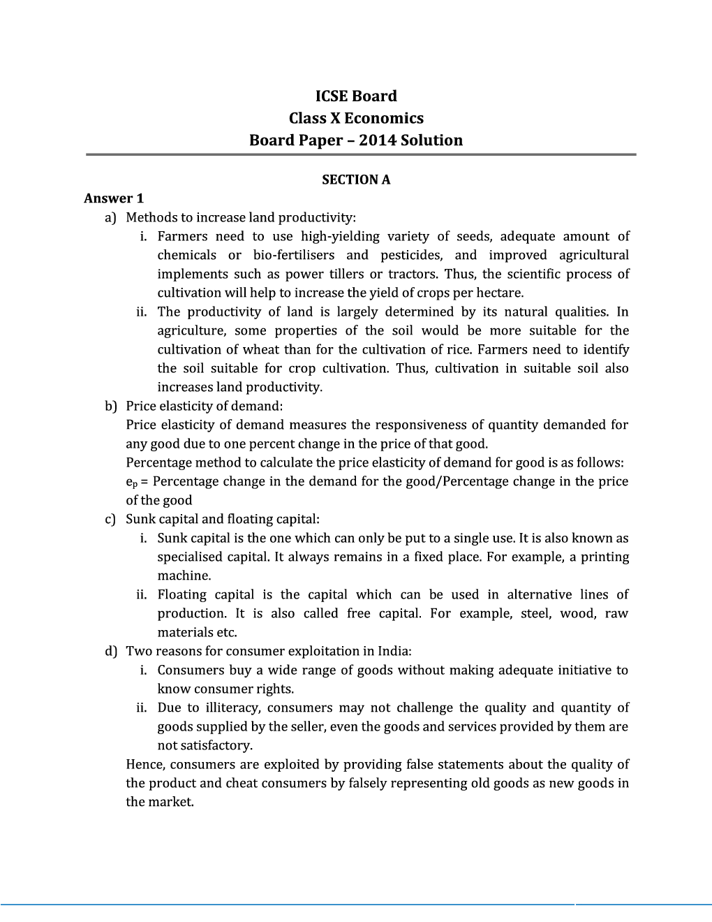 ICSE Sample Question Papers For Class 10 Economics - Page 4