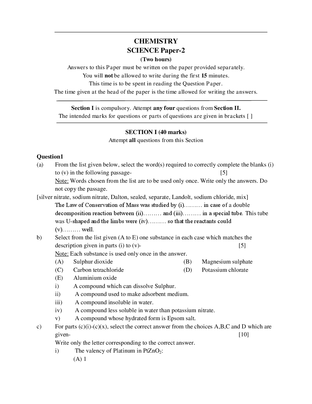 ICSE Question Papers For Class 9 Chemistry - Page 2