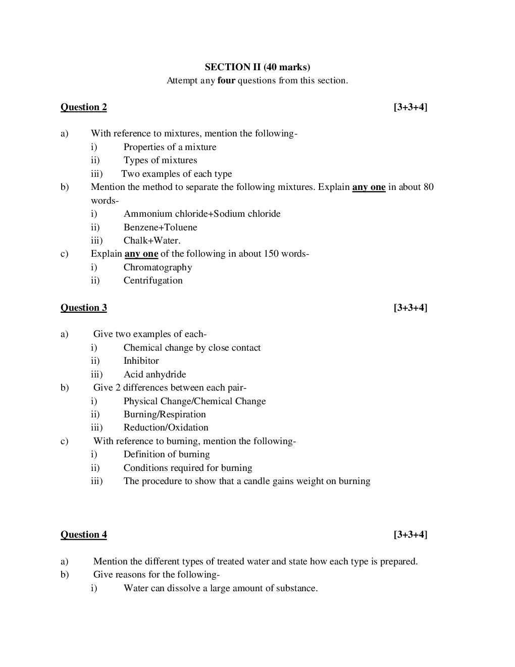 ICSE Question Papers For Class 9 Chemistry - Page 5