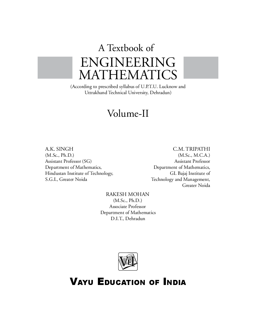 A Textbook of Engineering Mathematics-II - Page 1