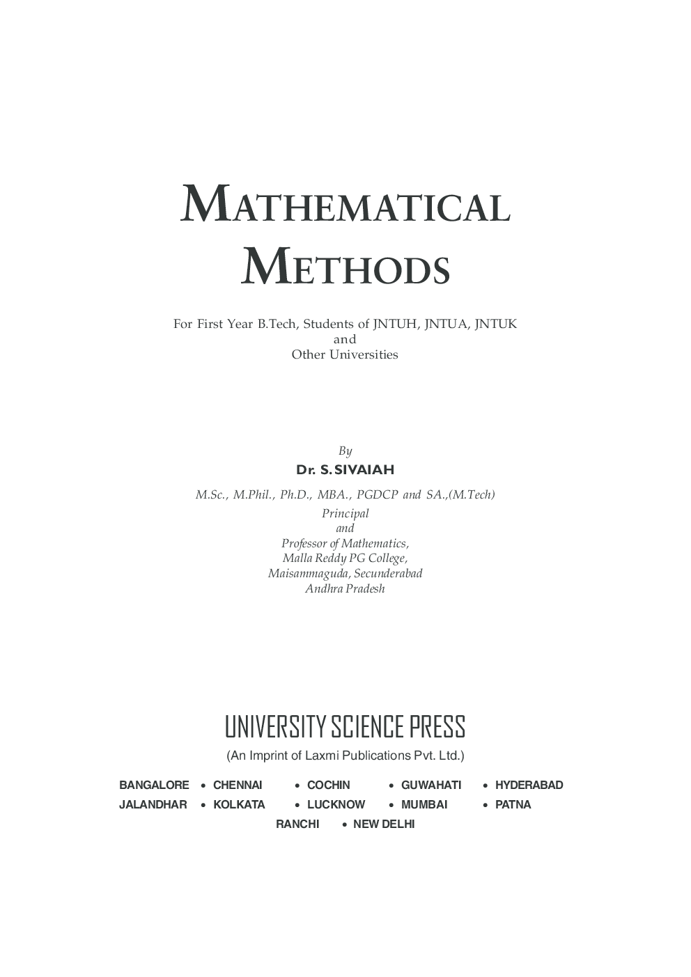 Mathematical Methods By Dr. S. Sivaiah - Page 2