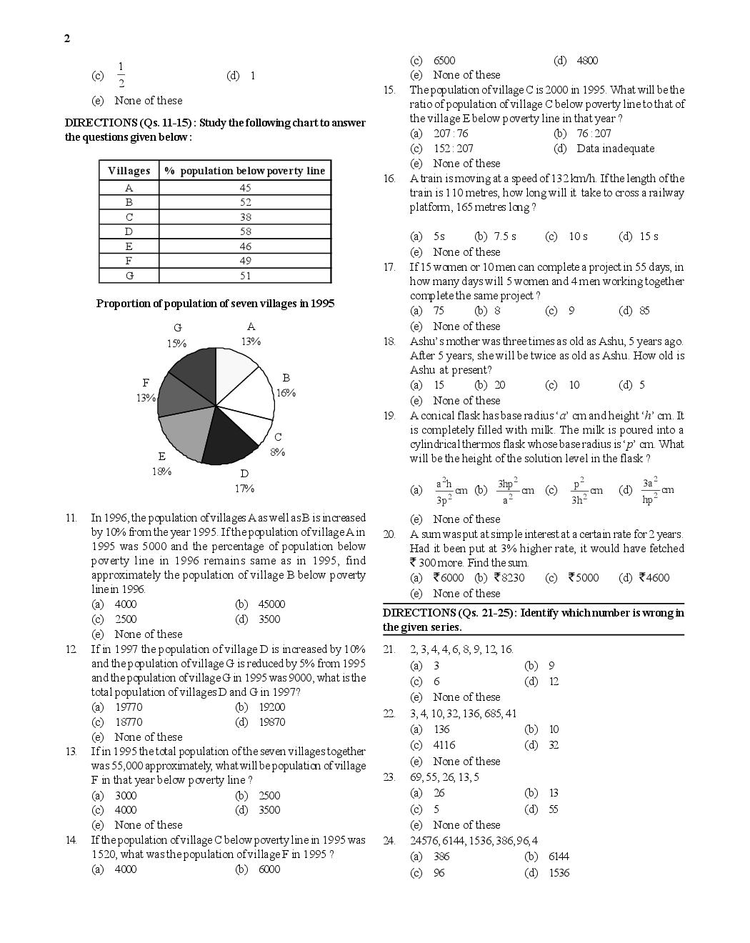 bank clerk exam sample questions