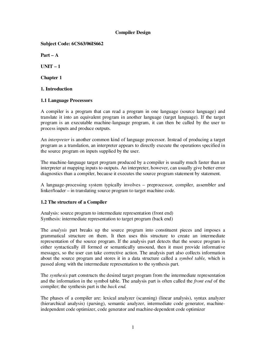VTUeNotes OnCompiler Design(Computer Science) - Page 2