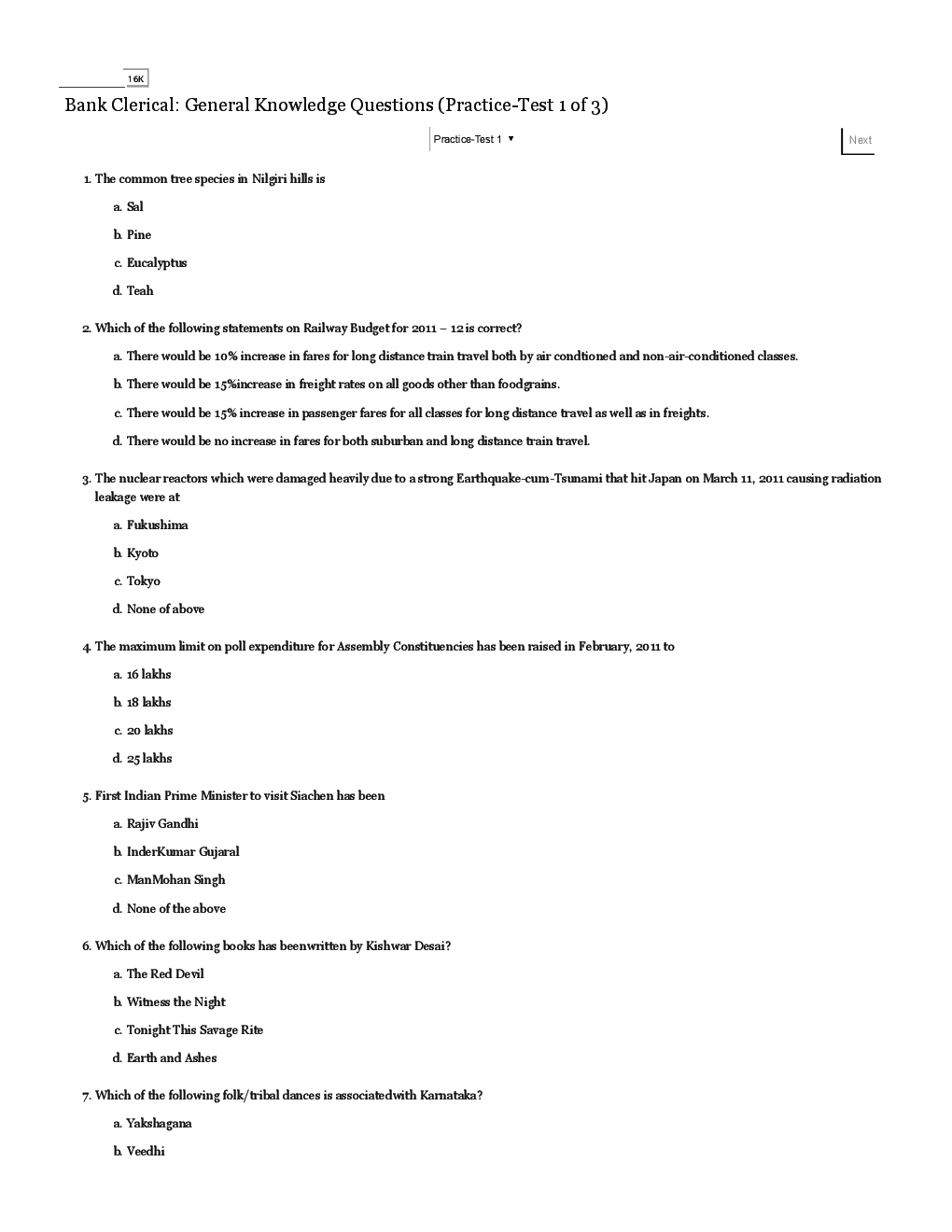 IBPS Clerical General Knowledge Questions With Answers Practice Test 1 To Test 3 - Page 2