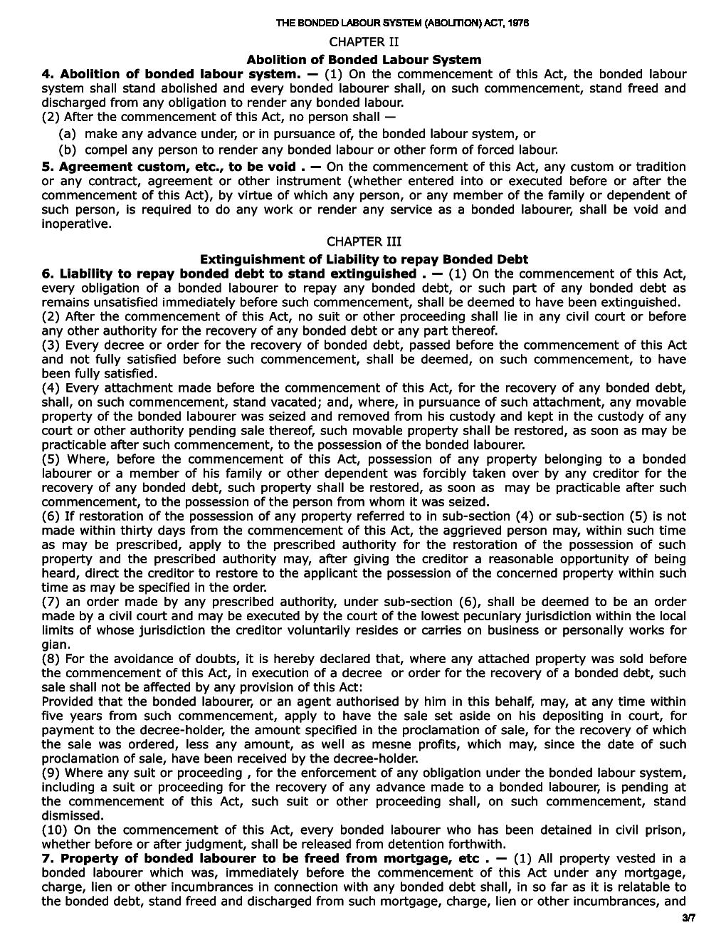 THE BONDED LABOUR SYSTEM (ABOLITION) ACT, 1976 ARRANGEMENT ...