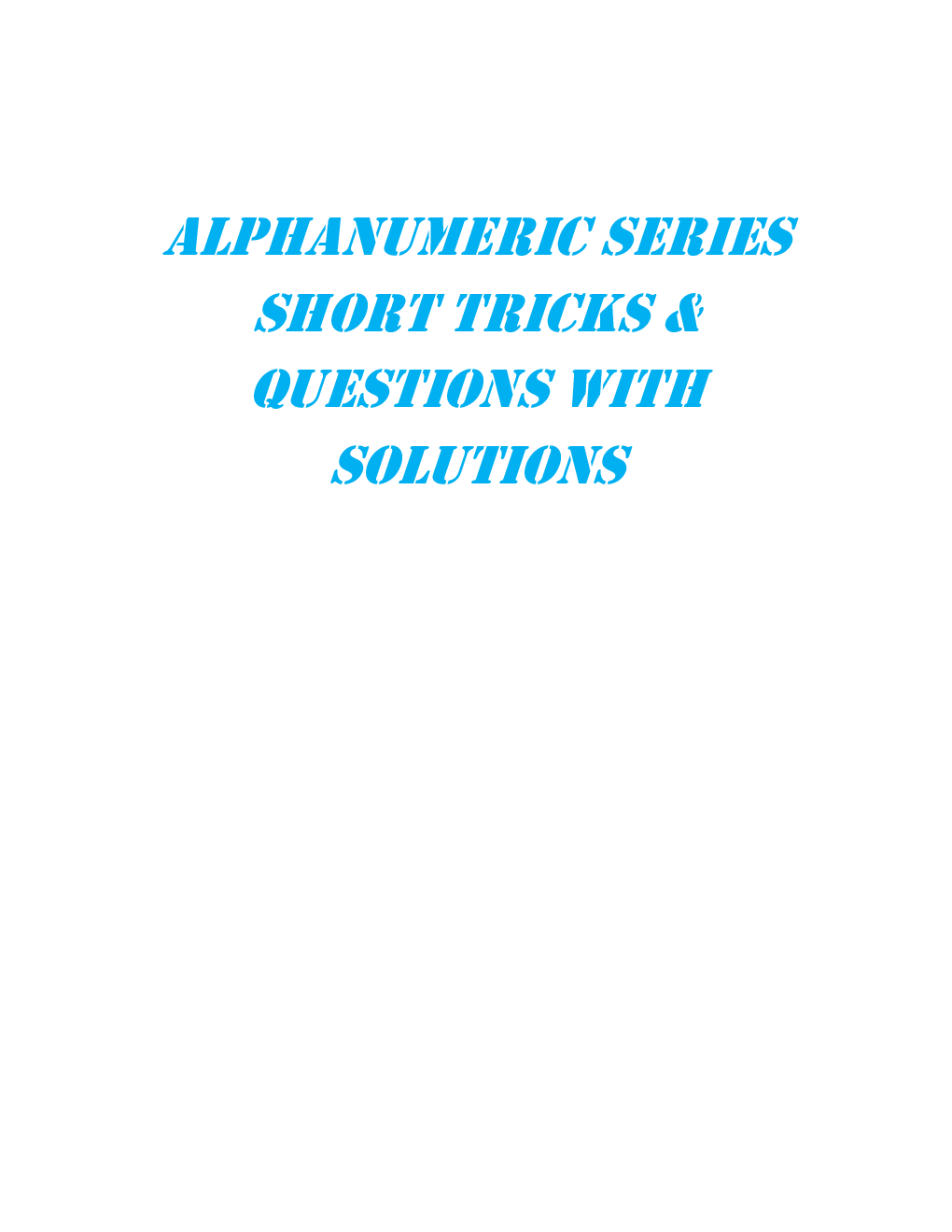 MCQs Reasoning (Alphanumeric Series) With Solutions - Page 2