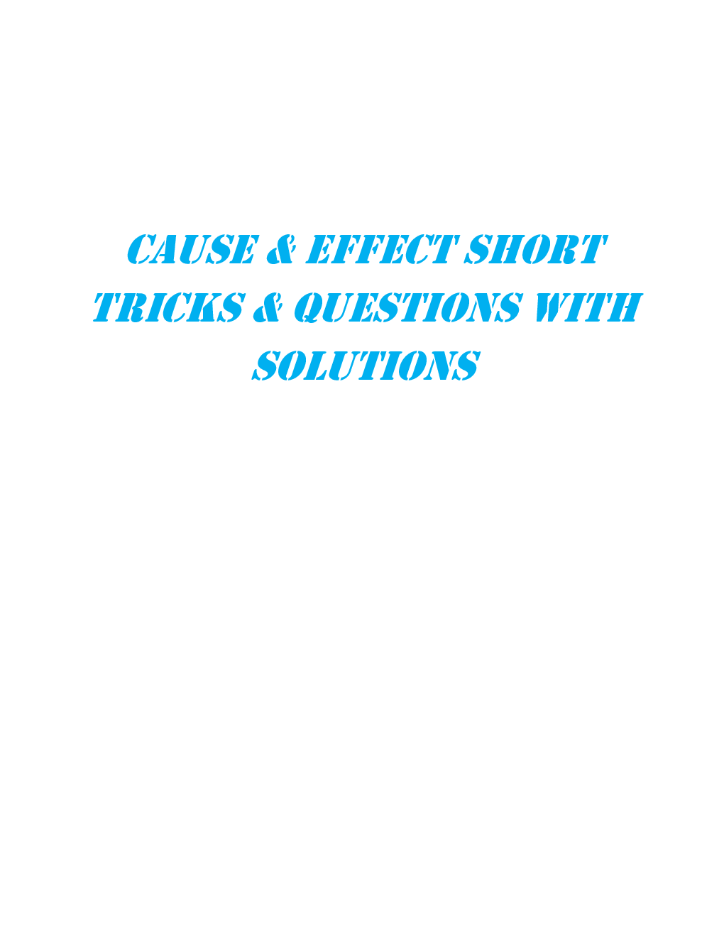 MCQs Reasoning (Cause Effect) With Solutions - Page 2