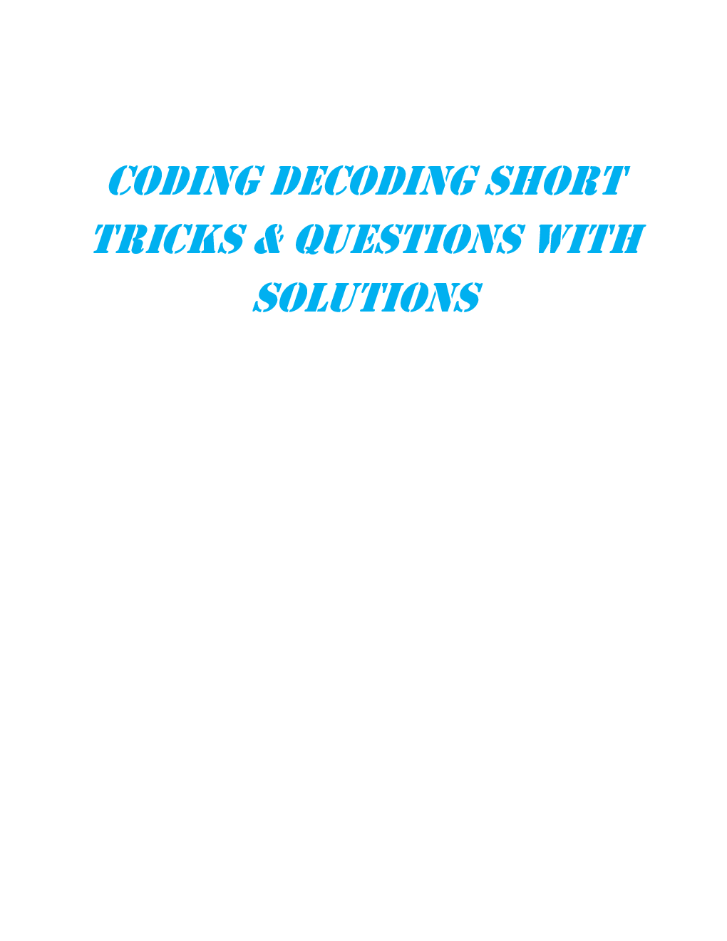 MCQs Reasoning (Coding Decoding) With Solutions - Page 2
