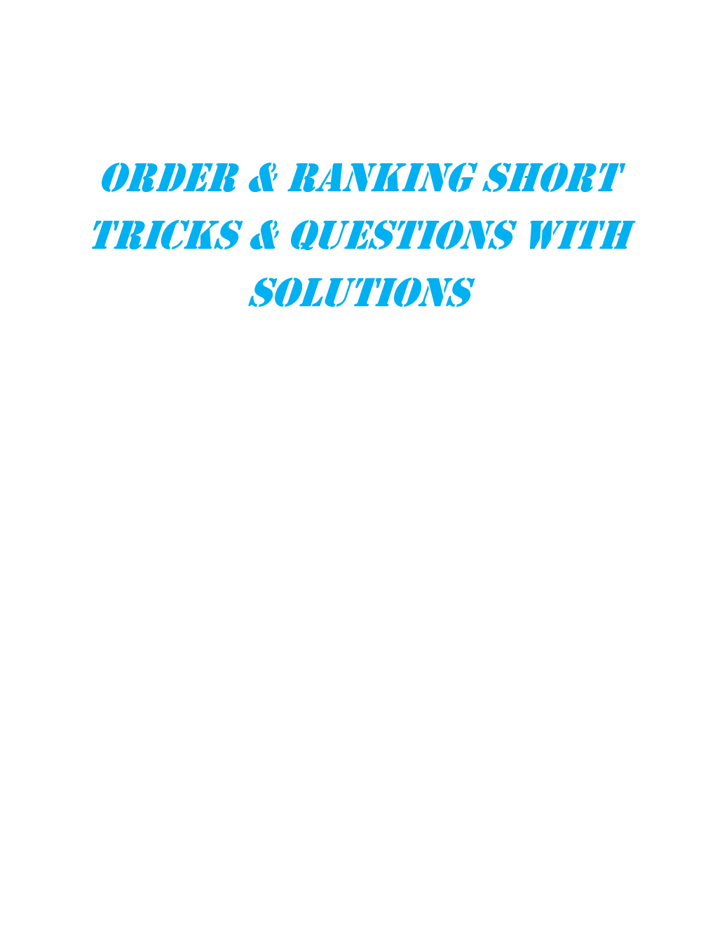 MCQs Reasoning (Order Ranking) With Solutions - Page 2