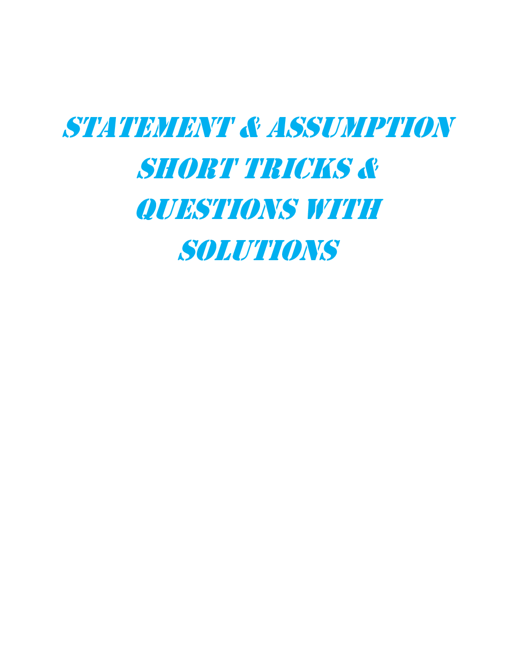 MCQs Reasoning (Statement & Assumption) With Solutions - Page 2
