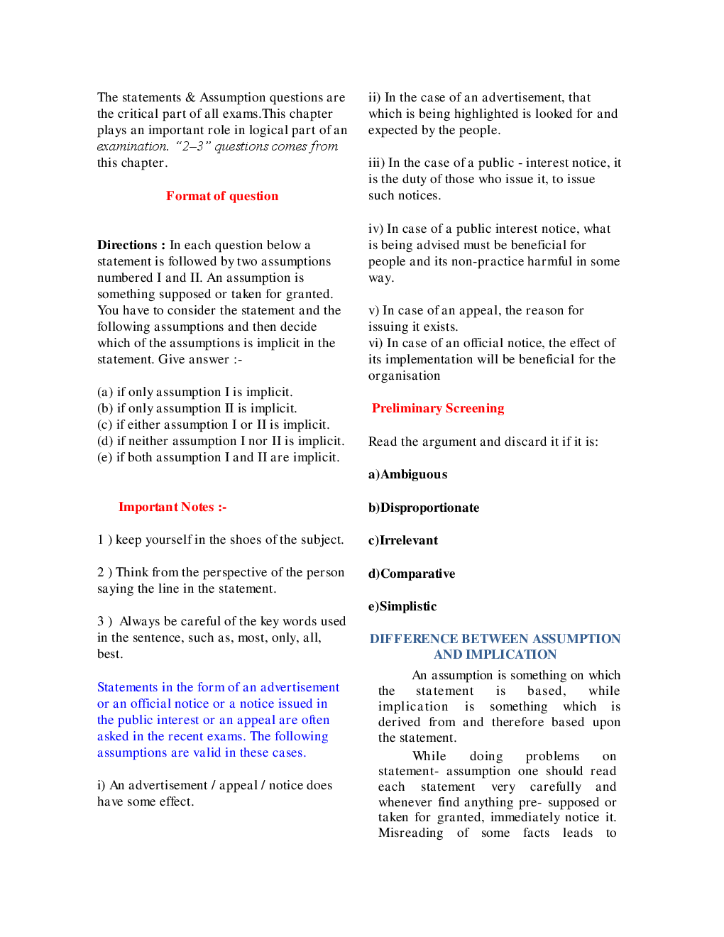 MCQs Reasoning (Statement & Assumption) With Solutions - Page 3
