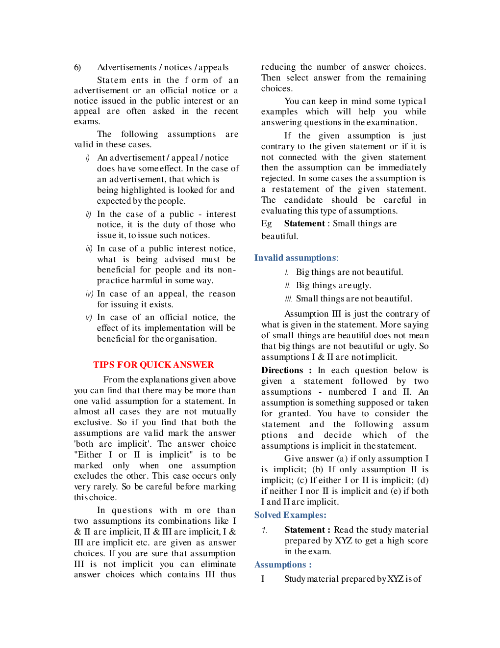MCQs Reasoning (Statement & Assumption) With Solutions - Page 5