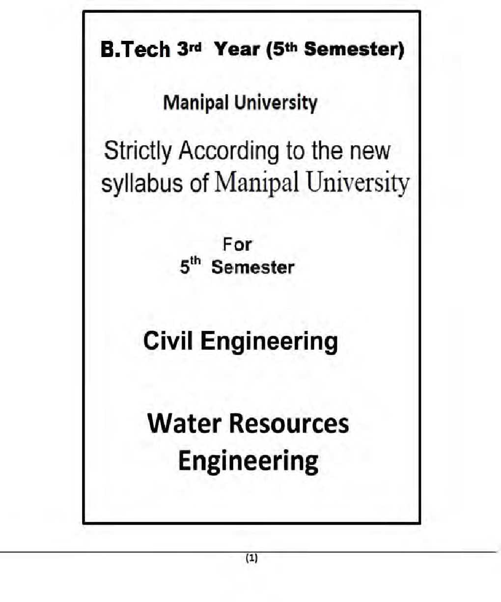 Water Resources Engineering For Manipal University B.Tech 5th Sem Civil Engineering - Page 2