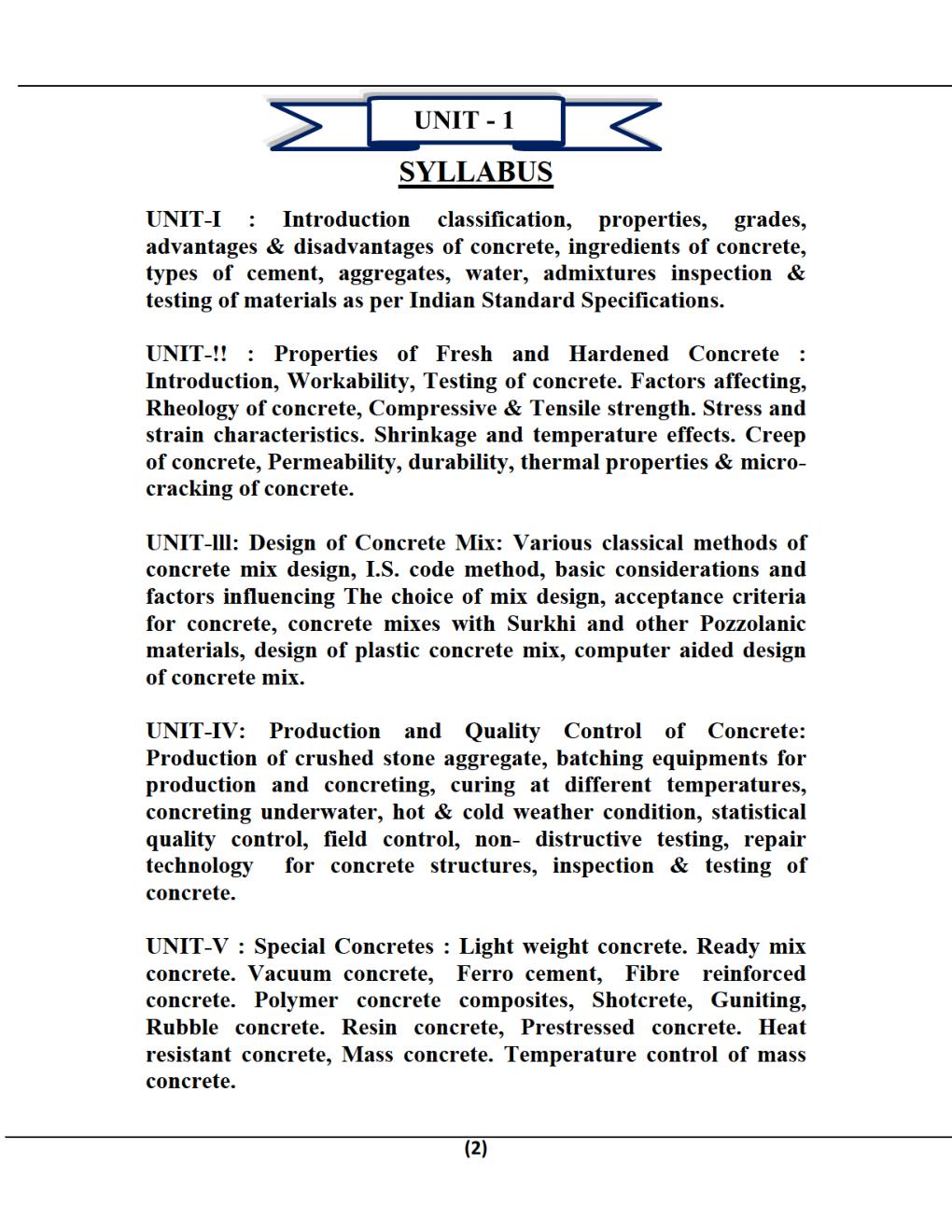 Concrete Technology B.Tech 4th Sem Civil Engineering For JECRC University - Page 2