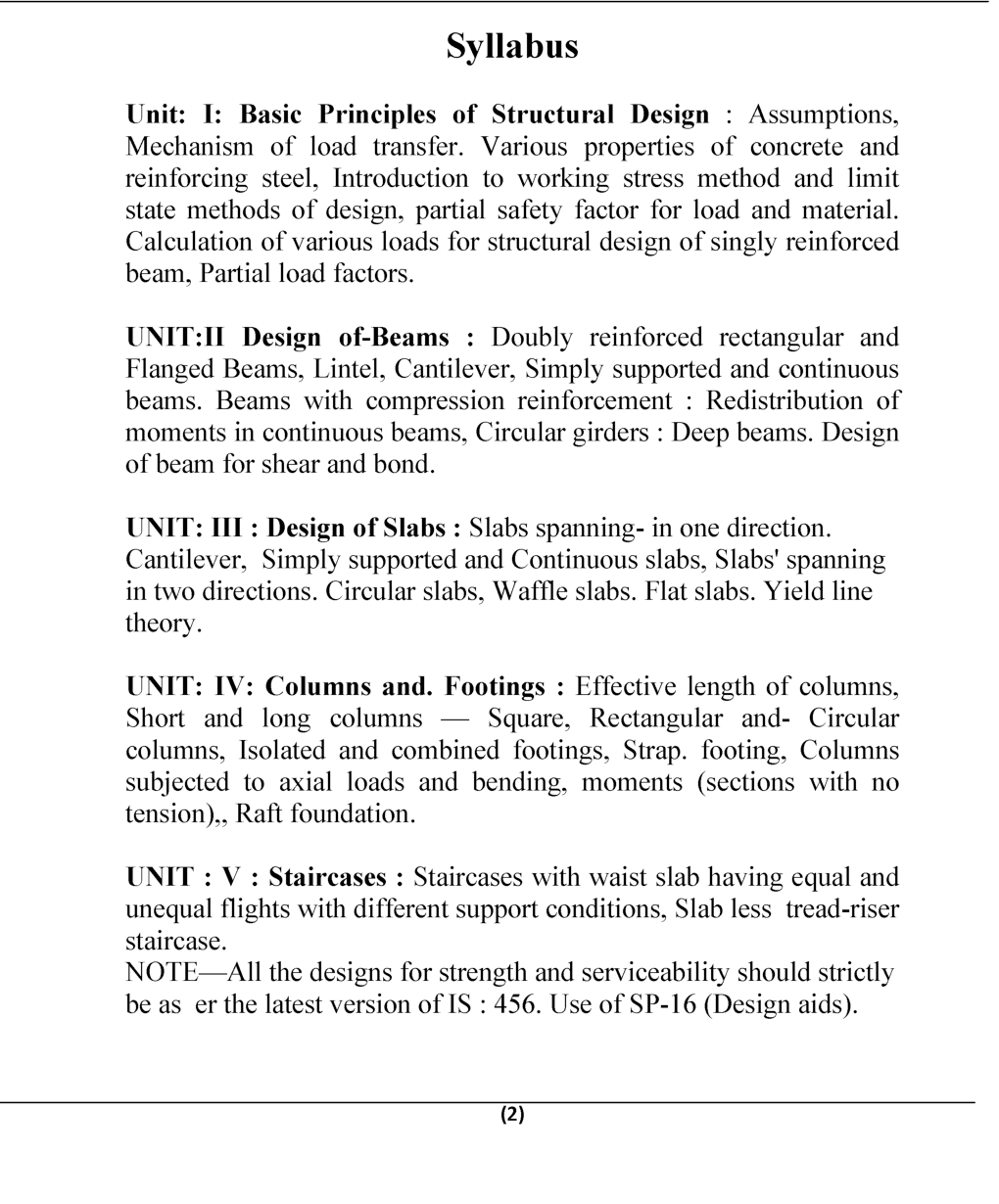 Structural Design-I (RCC) B.Tech 6th Sem Civil Engineering For JECRC University - Page 3