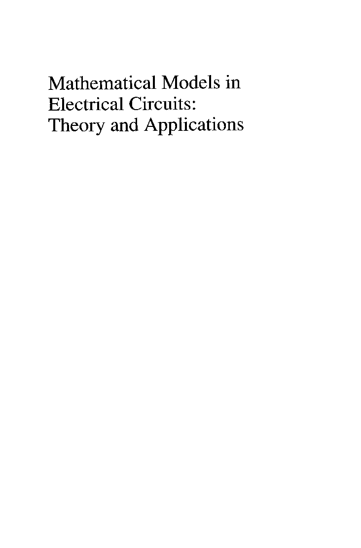 Mathematical Models In Electrical Circuits Theory And Applications - Page 2
