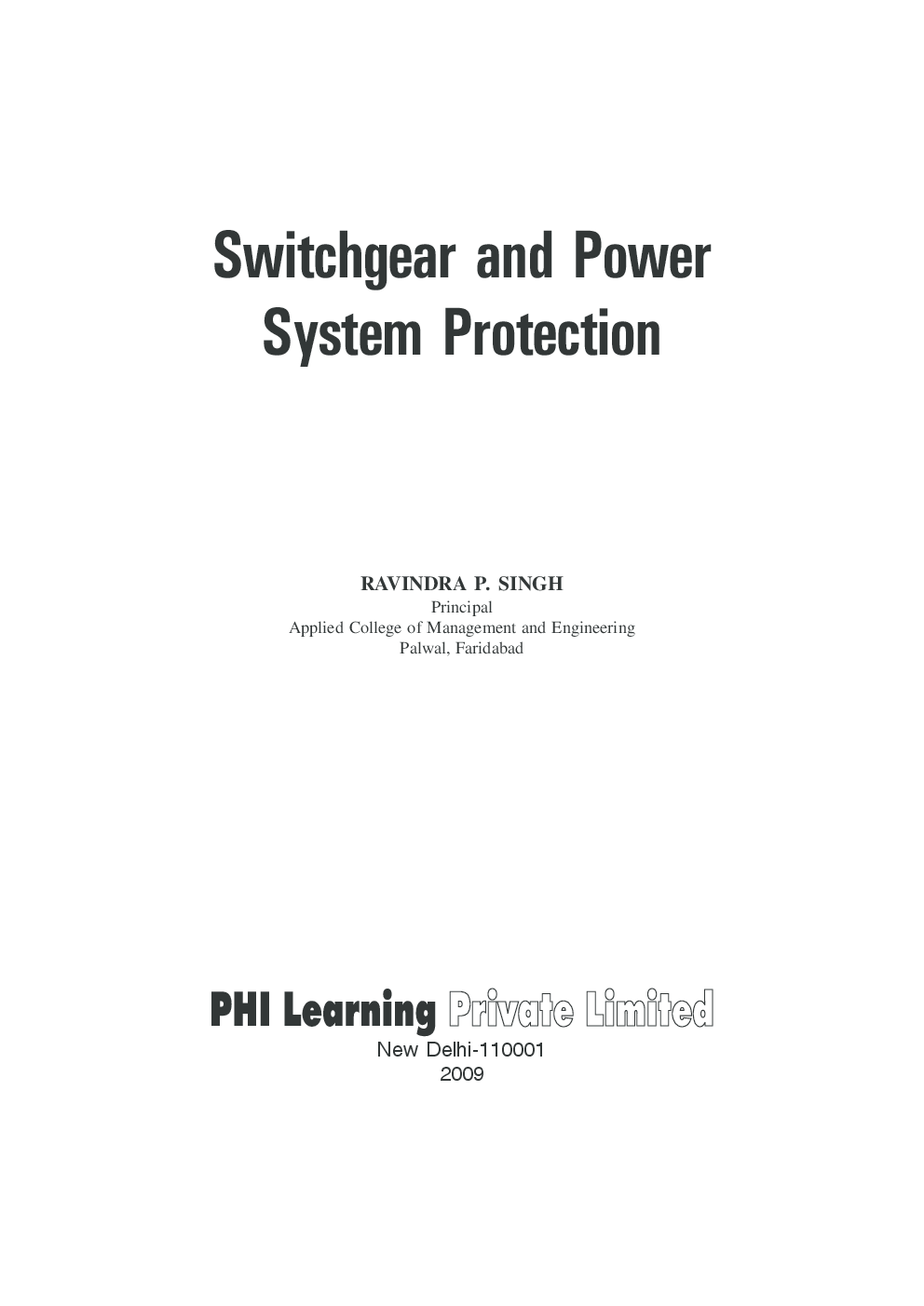 Download Switchgear And Power System Protection By
