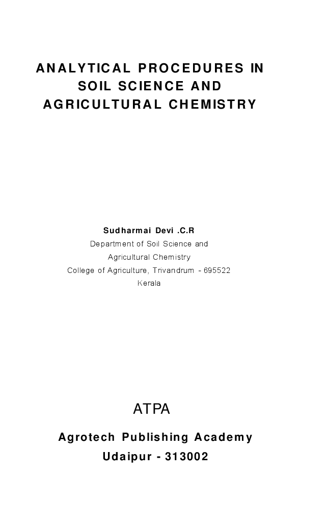 Analytical Procedures in Soil Science and Agricultural Chemistry - Page 2