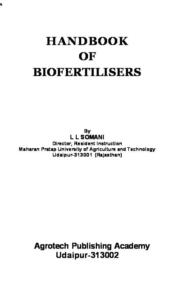 Handbook of Biofertilizers - Page 2