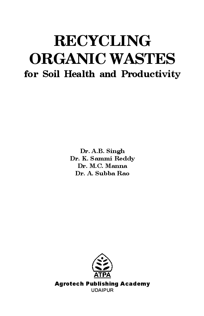 Recycling Organic Wastes for Soil Health and Productivity - Page 2