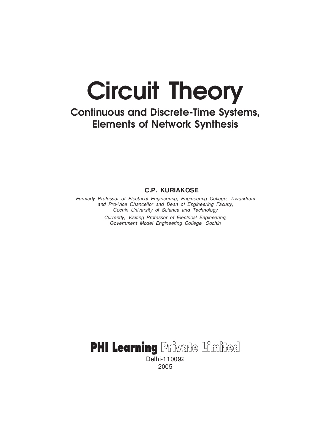 Download Circuit Theory Continuous And Discrete Time