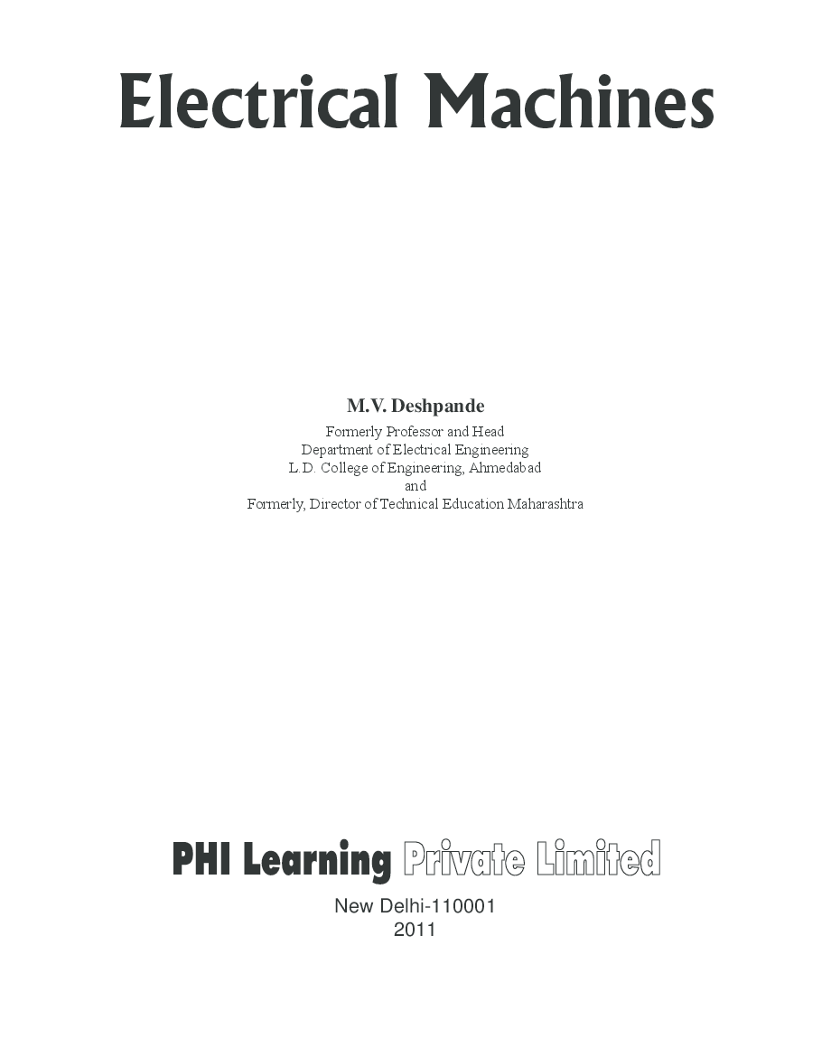 control of electrical machines book pdf
