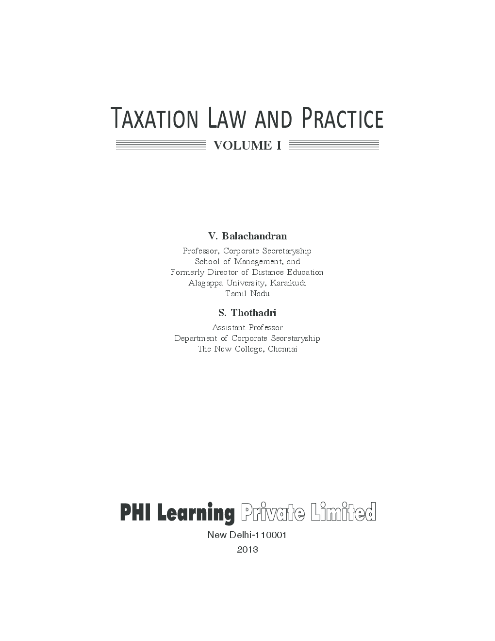 Taxation Law And Practice Volume I - Page 2