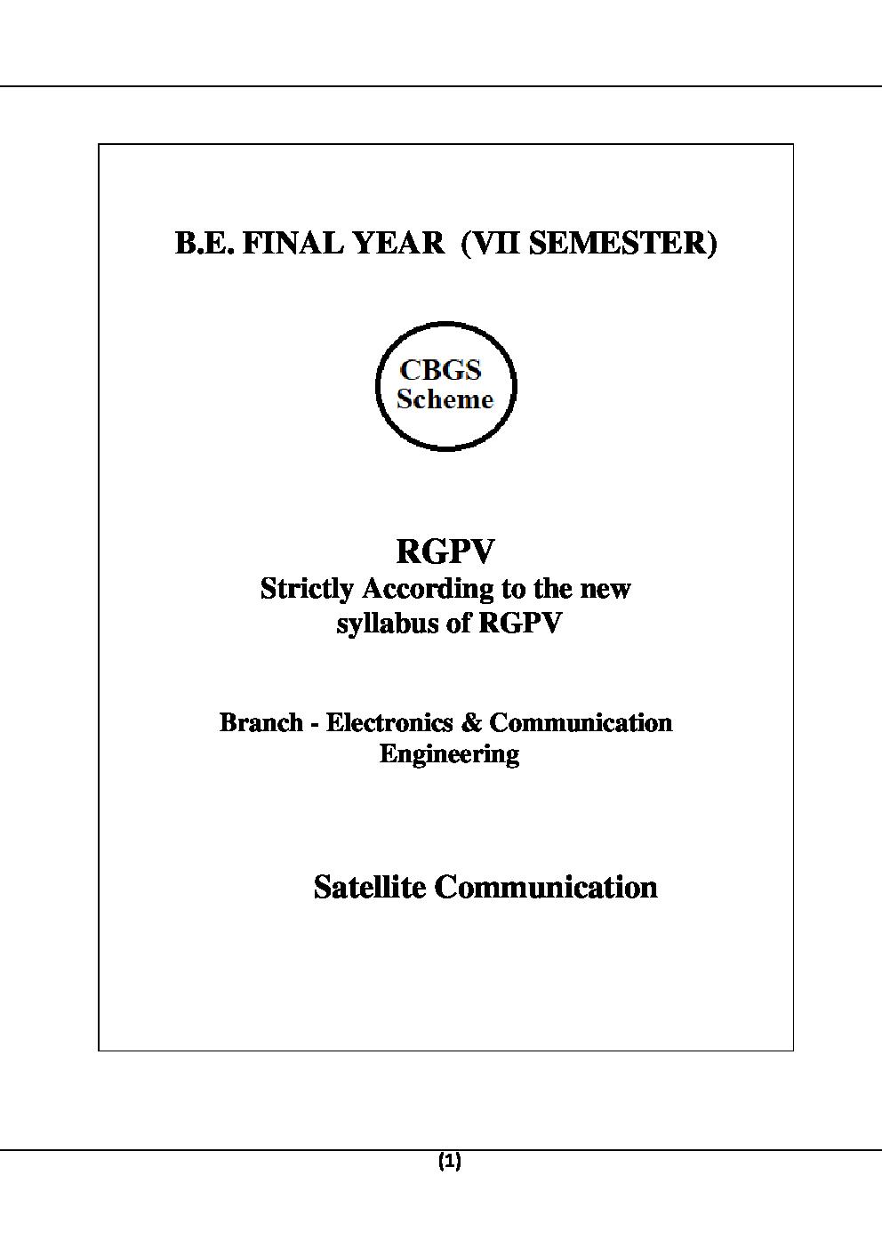 Satelite Communication For RGPV B.E. 7th Sem Electronics & Communication Engineering - Page 2