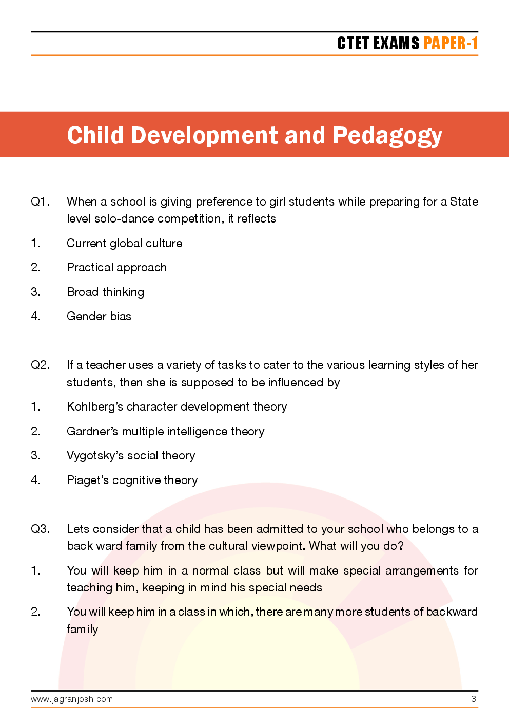 CTET Paper-1 Solved Questions and Answers - Page 3
