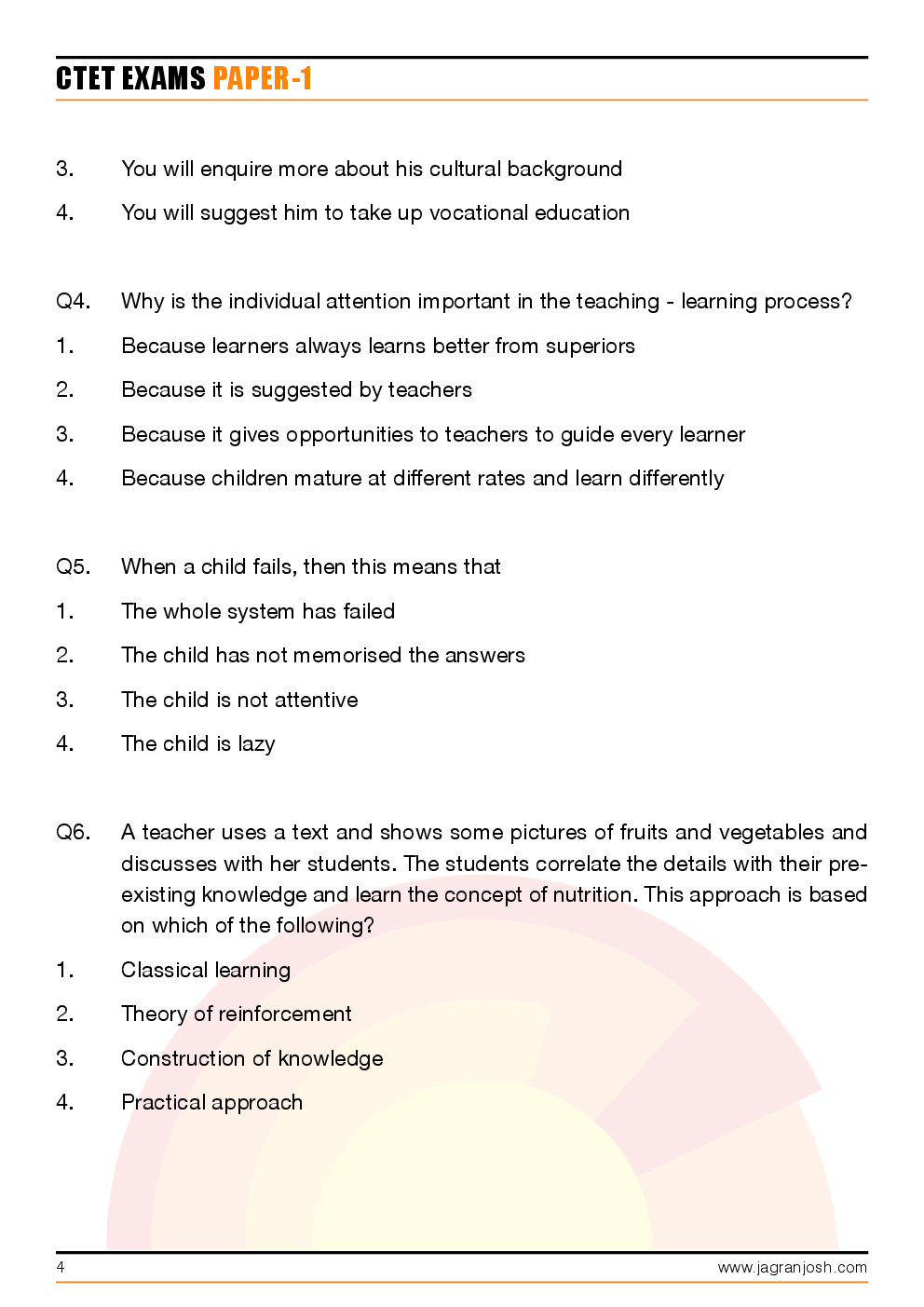 CTET Paper-1 Solved Questions and Answers - Page 4