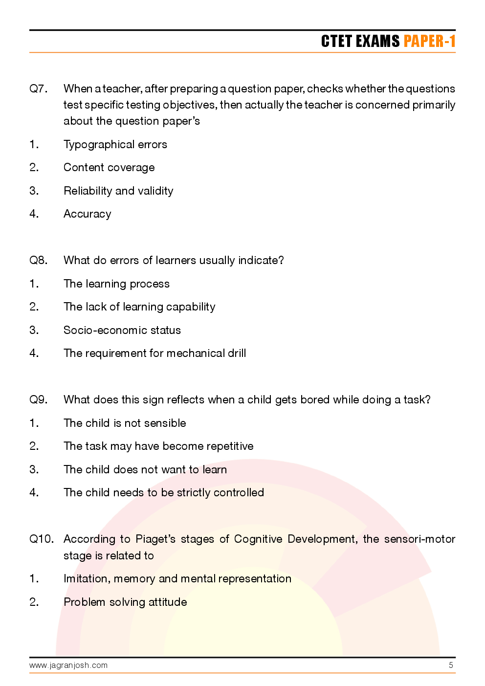 CTET Paper-1 Solved Questions and Answers - Page 5