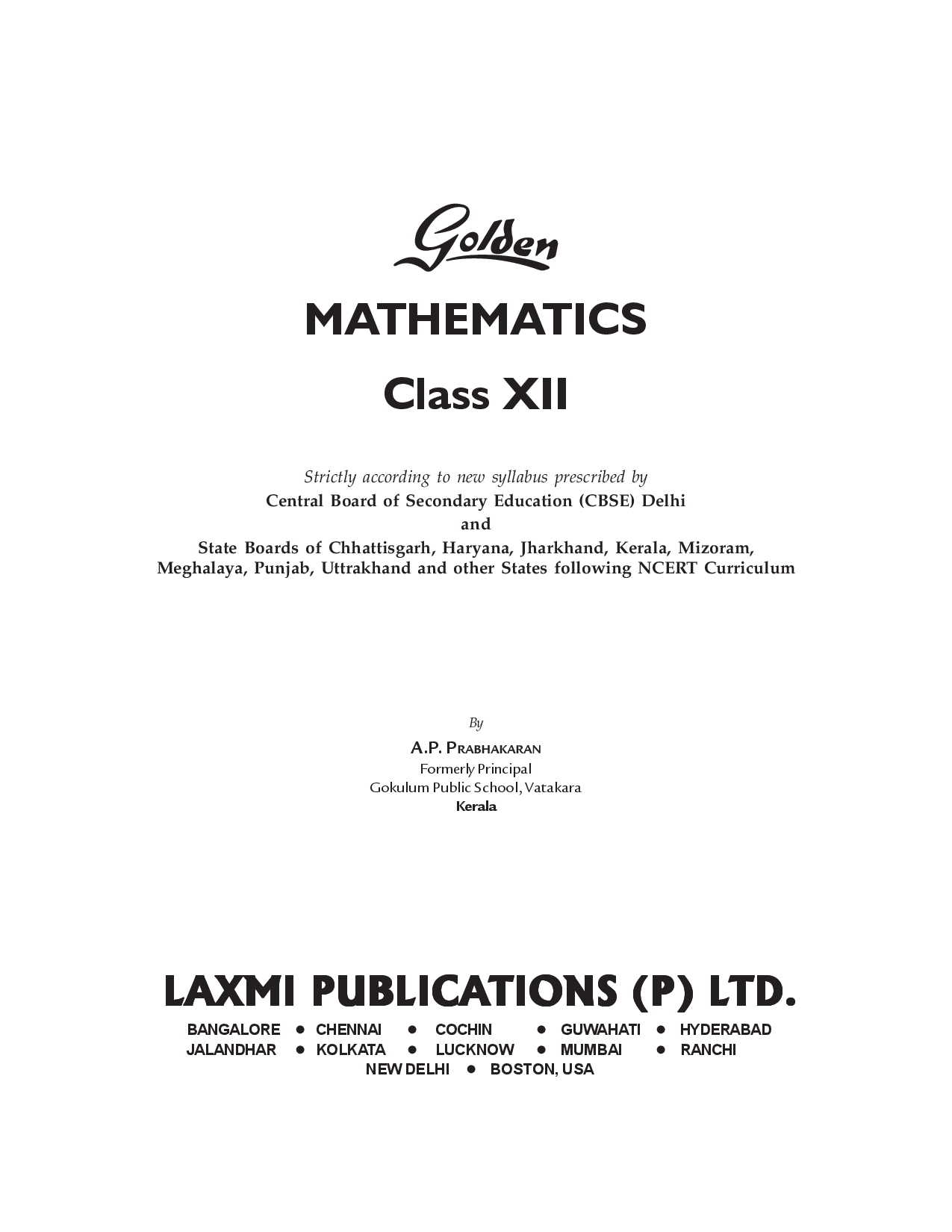 Golden Mathematics Class XII (New Edition) - Page 3