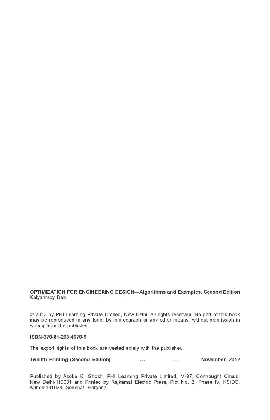 optimization  engineering design algorithms  examples  deb  kalyanmoy