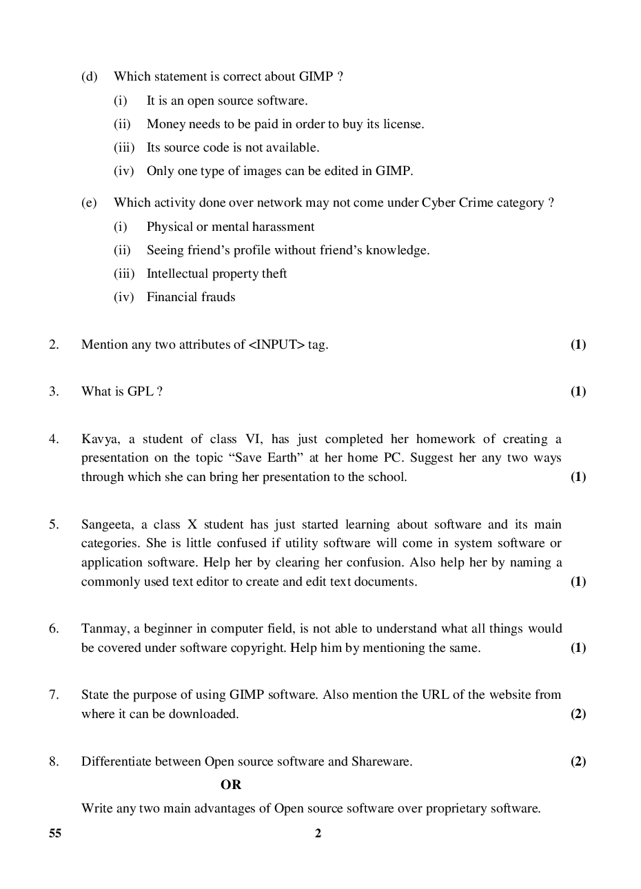 CBSE Question Papers For Class - X Information & Communication Technology Set-4 (2018) - Page 3