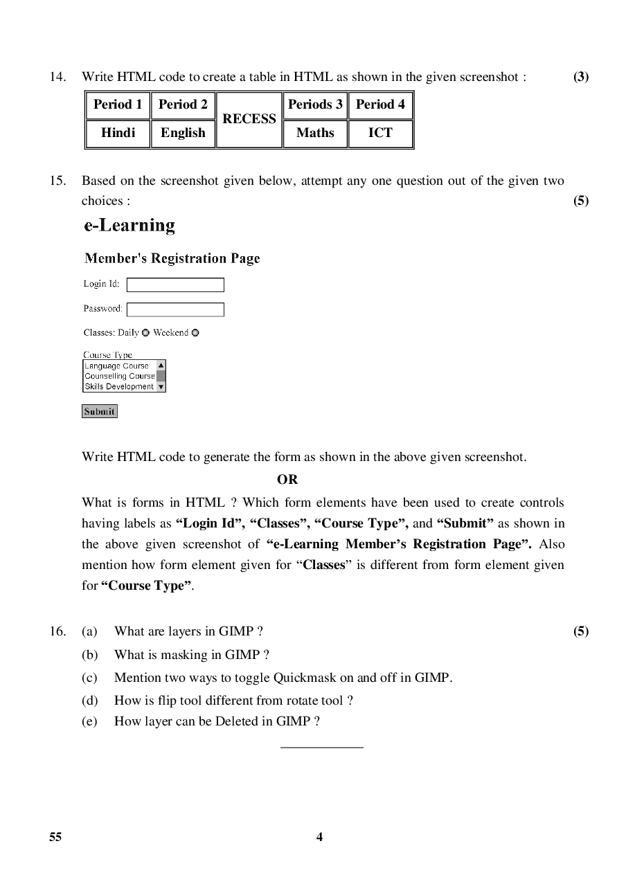 CBSE Question Papers For Class - X Information & Communication Technology Set-4 (2018) - Page 5