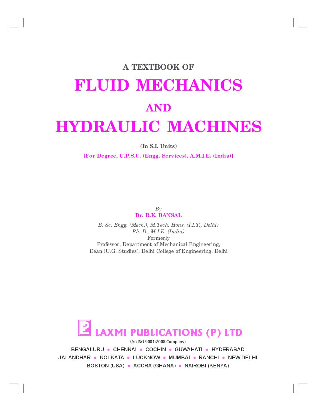 introduction to fluid mechanics and fluid machines pdf
