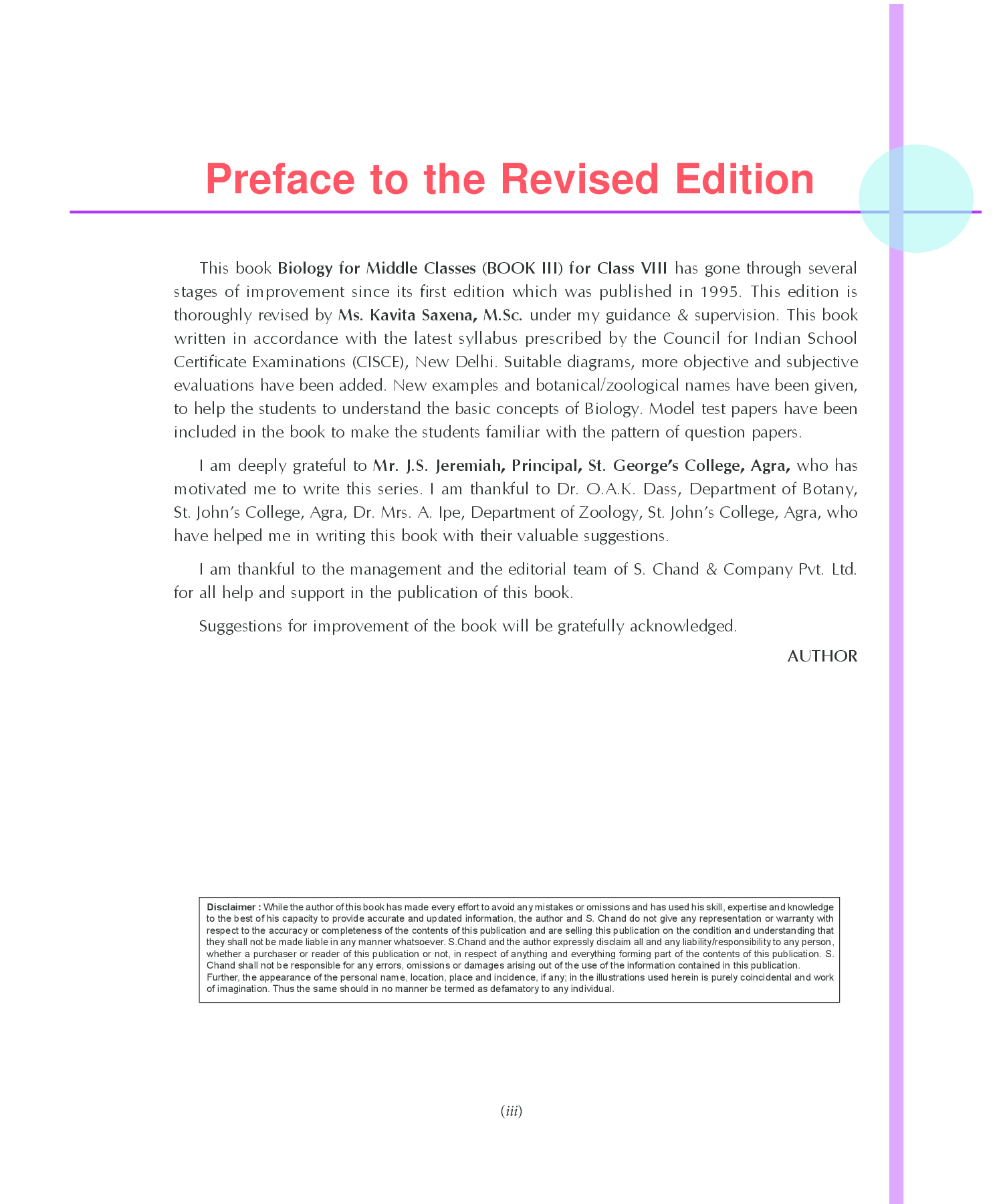 Biology For Middle Classes Book-III Class-VIII - Page 4