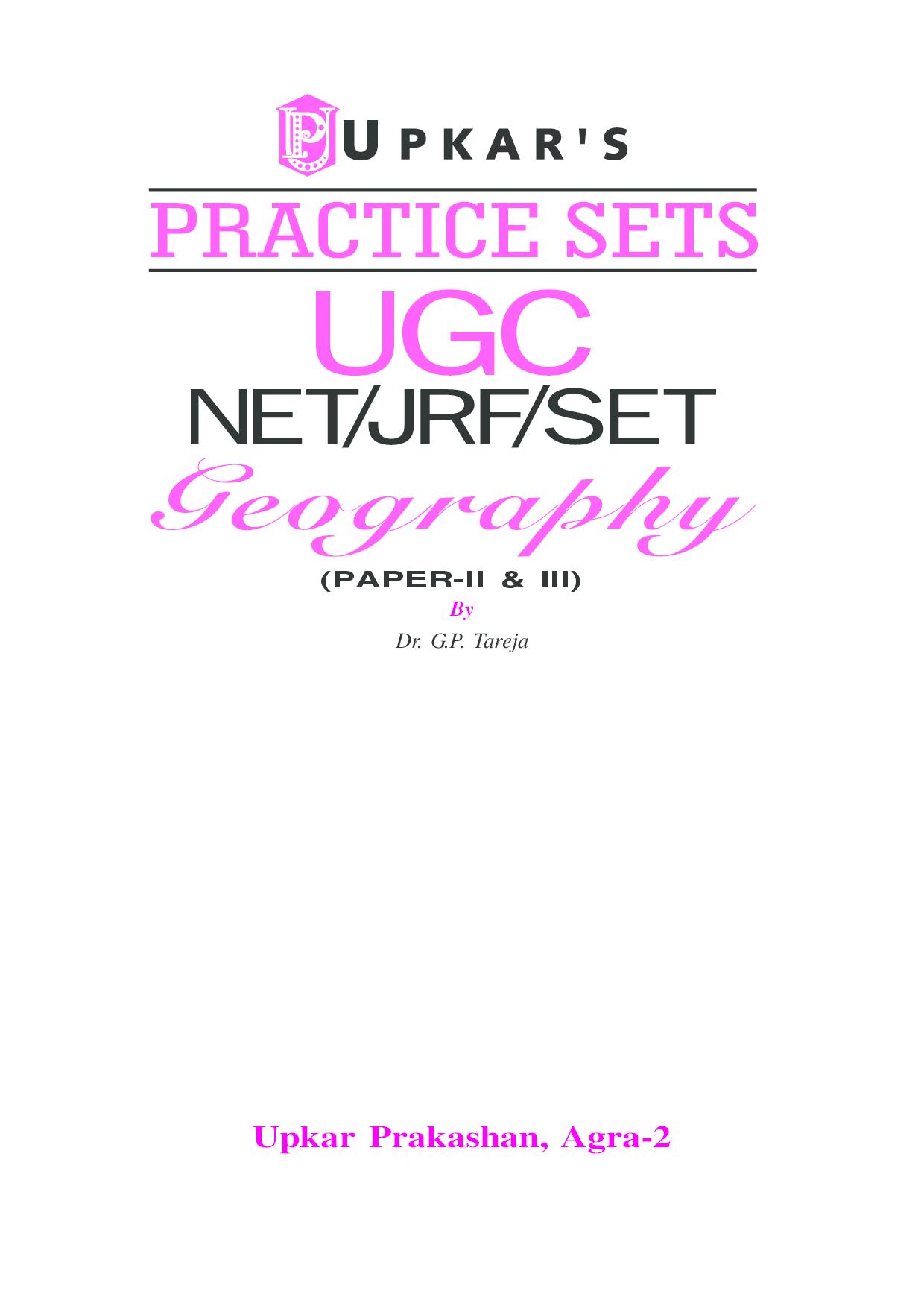 Practice Sets UGC NET/JRF/SET Geography Paper- II & III  - Page 2