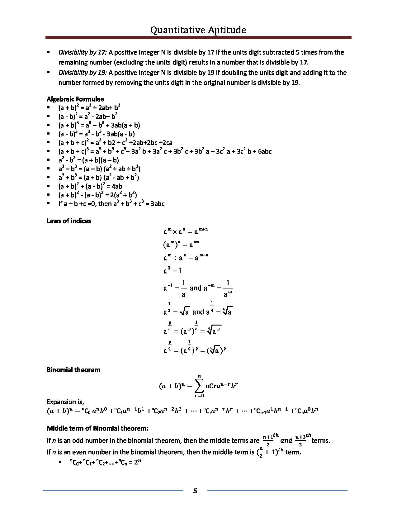 Quantitative Aptitude Formula ebook - Page 5